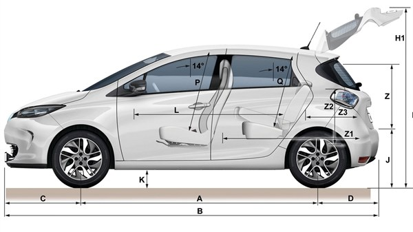 Renault ZOE side view with dimensions