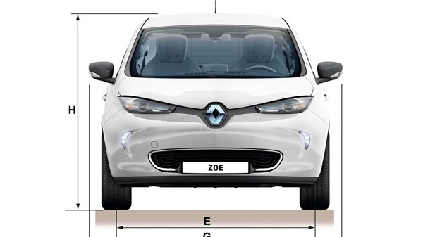 Renault ZOE top view with dimensions
