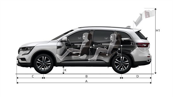Renault KOLEOS side view with dimensions