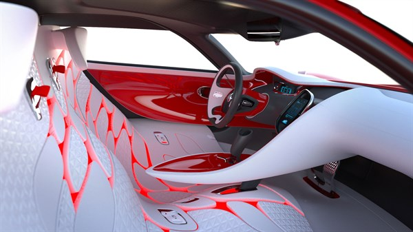 Renault DEZIR concept car interior view with cabin and front seats