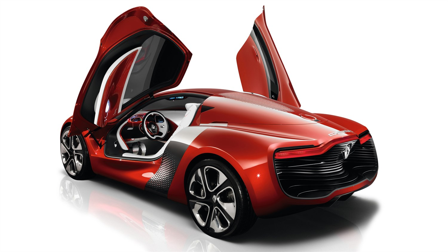 Renault DEZIR Concept - 3D view of vehicle - 3/4 rear view with side doors open