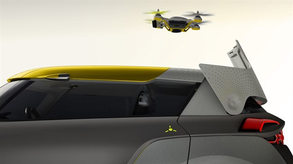 A drone flying above the Renault KWID concept car