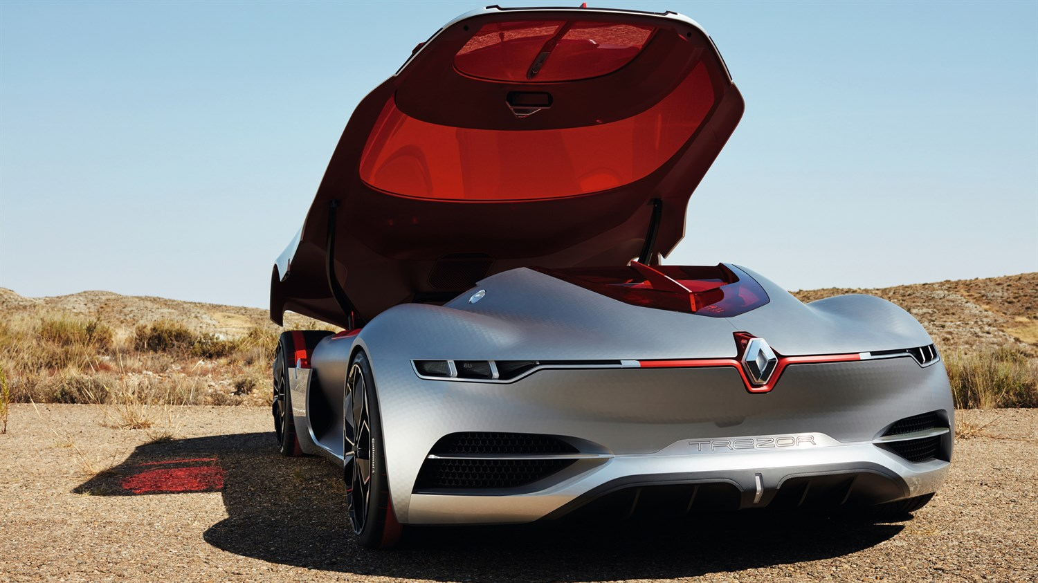 Renault TREZOR concept car exterior design back view with sliding roof door open
