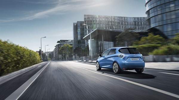 Renault ZOE moving on the city road