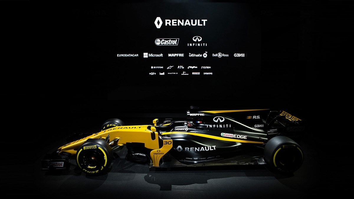 Renault Formula One and partner logos on the Renault R.S. 17